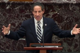 House lead impeachment manager Representative Jamie Raskin concludes the impeachment managers' case in the Senate trial of former President Donald Trump on a charge of inciting insurrection [Senate TV/Handout via Reuters]