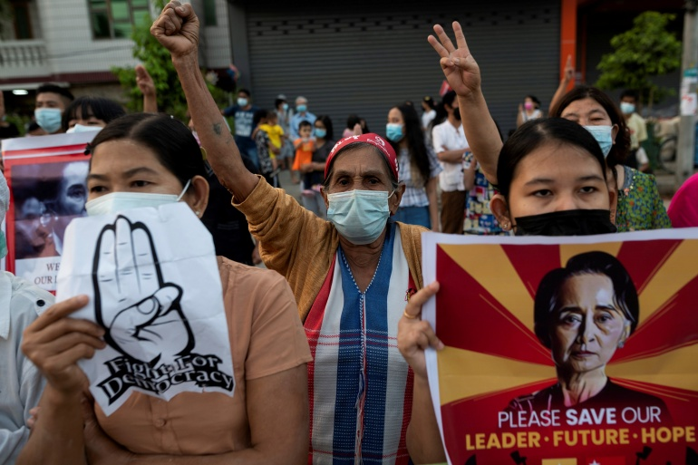 Protesters have been calling ofr the release of Aung San Suu Kyi and other elected officials who were detained in the coup on February 1 [Stringer /Reuters]