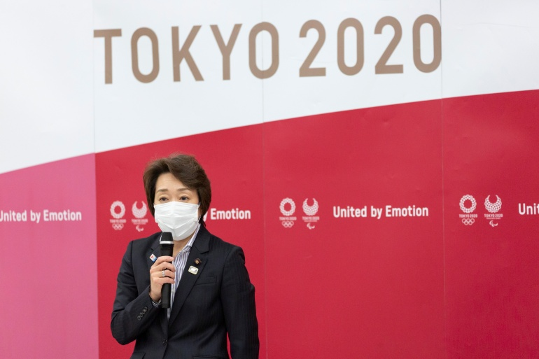 Seiko Hashimoto, president of the Tokyo 2020 Olympics Organising Committee, speaks during the Tokyo 2020 Executive Board meeting, in Tokyo on February 18, 2021 [Yuichi Yamazaki/Pool via Reuters]