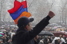 The months-long protests against Pashinyan had gone dormant for a spell in the depth of Armenia's winter but resumed again on Saturday, when thousands of demonstrators took to the streets of the capital, Yerevan [Artem Mikryukov/Reuters]