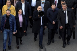 Pashinyan has faced opposition calls to step down ever since he signed a November 10 Russian-brokered peace deal that saw Azerbaijan reclaim control over large parts of Nagorno-Karabakh [Stepan Poghosyan/Photolure via Reuters]