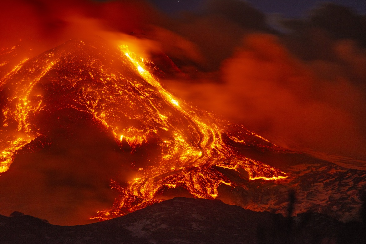 Mount Etna erupted several times on Tuesday, causing the closure of a nearby airport. [Salvatore Allegra/Anadolu]
