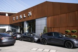 Tesla is building Model 3 electric sedans and Model Y sport-utility vehicles at its Shanghai factory [File: Qilai Shen/Bloomberg]