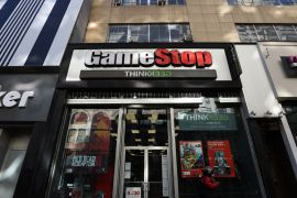 Shares of GameStop Corp sank 34 percent in US pre-market trading, extending a 31 percent plunge on Monday [File: Tayfun Coskun/Anadolu Agency/Getty Images]