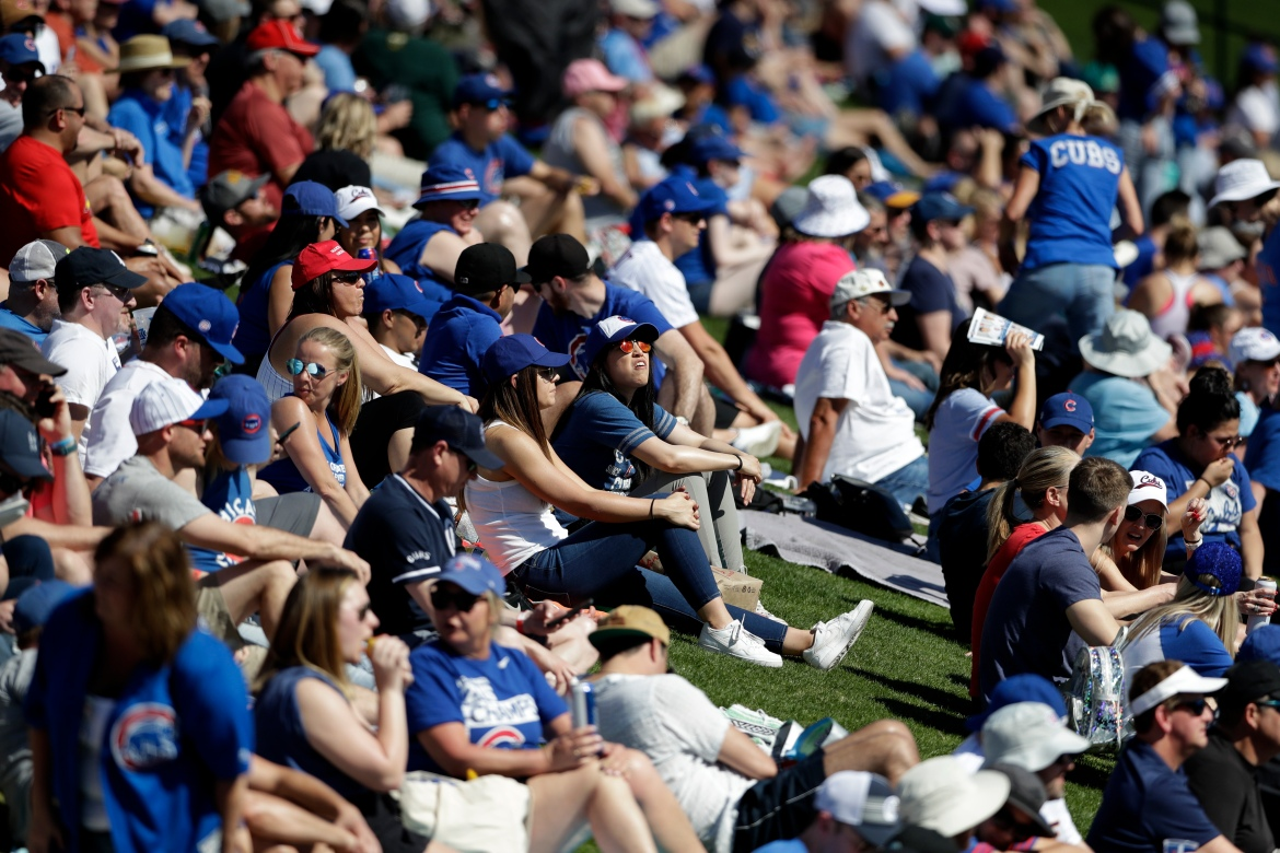 Fans watch from grass beyond the outfield as the Chicago Cubs play the Milwaukee Brewers in a spring training baseball game on February 29, 2020, in Mesa, Arizona. [Gregory Bull/AP Photo]