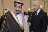 President Joe Biden and Saudi King Salman bin Abdulaziz, shown together in 2011, spoke by telephone about the US-Saudi Arabia relationship on Thursday, the White House said [File: Hassan Ammar/AP Photo]