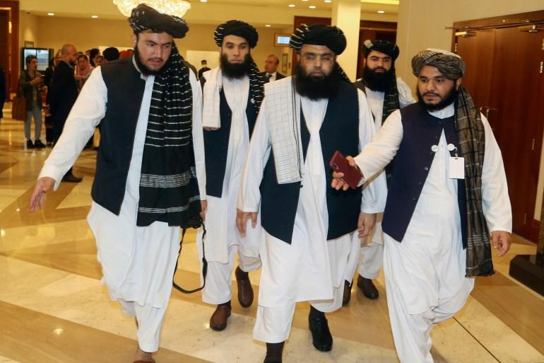 Anggota delegasi Taliban menghadiri sesi pembukaan pembicaraan damai dengan pemerintah Afghanistan di Doha, Qatar, 12 September 2020 File Hussein Sayed/AP Photo