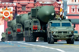 Russian ballistic missiles roll in Moscow's Red Square during the 75th annual Victory Day military parade [File: Alexander Zemlianichenko/AP Photo]