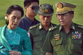 Myanmar state TV said on Monday that the military was taking control of the country for one year, while reports said many of the country's senior politicians including Suu Kyi had been detained [File: Aung Shine Oo/AP]