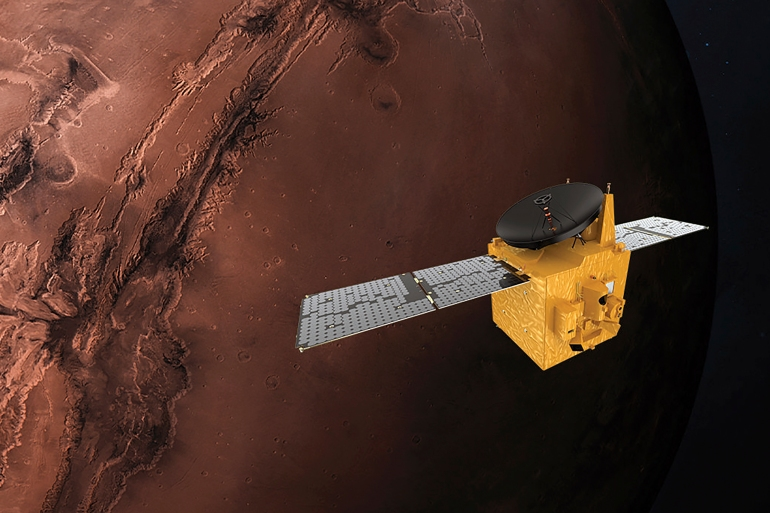 This illustration depicts the UAE's Mars probe. [Alexander McNabb/MBRSC via AP]