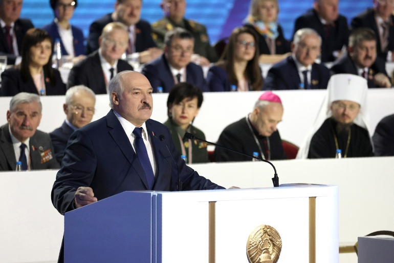 Belarusian President Alexander Lukashenko, who has been in power since 1994, has denounced six months of protests against his rule as a foreign-directed 'rebellion' [Maxim Guchek/BelTA Pool Photo via AP]