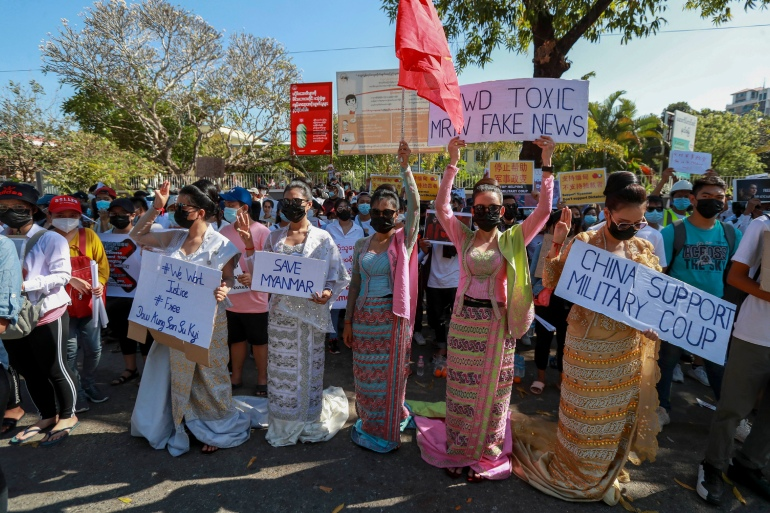 Myanmar protesters urge China to condemn coup. Will Beijing act? | China  News | Al Jazeera