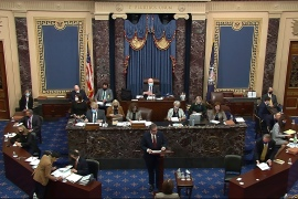 In this image from video, Bruce Castor, a lawyer for former President Donald Trump, speaks during the second impeachment trial of Trump in the Senate at the US Capitol in Washington, DC, February 12, 2021 [Senate Television via AP Photo]