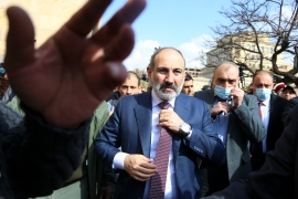 After top military officials turned on Pashinyan, the PM rallied his supporters in Yerevan on February 25 [Stepan Poghosyan/PHOTOLURE via AP]
