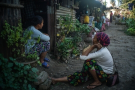 Many of the displaced from Myanmar's ethnic minorities were forced from their homes years ago. These Kachin women have been living in a camp for 10 years [Al Jazeera Staff]