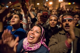 Protesters in Tahrir Square celebrate after hearing that President Hosni Mubarak had stepped down as president in Cairo, Egypt, on February 11, 2011 [Linda Davidson/The Washington Post via Getty Images]
