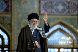 Ayatollah Ali Khamenei waves to supporters during a visit to Mashhad, 900km (540 miles) east of Tehran [File: Office of the Iranian Supreme Leader via AP]