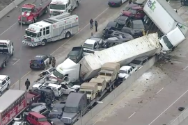 Dozens of vehicles were involved in the massive pileup on Interstate 35 in Forth Worth, Texas as seen in this screenshot [WFAA]