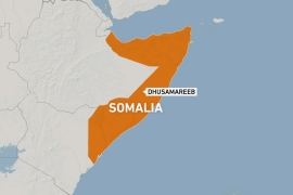 Map of Somalia showing the central town of Dhusamareeb [Al Jazeera]