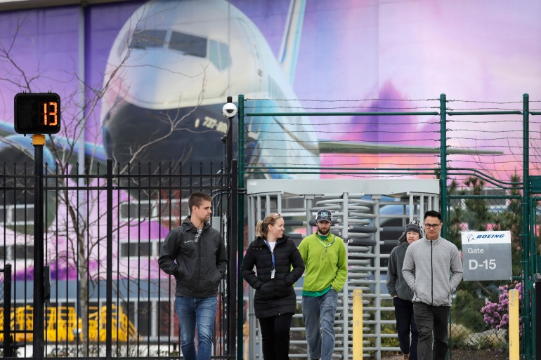 Most of Boeing's employees did not receive annual bonuses last year after it reported a $636m loss in 2019 because of the grounding of its 737 MAX [File: Elaine Thompson/AP Photo]