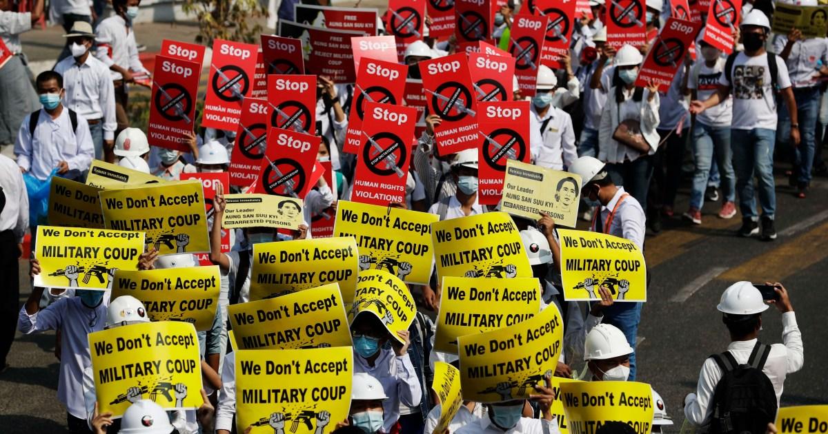 www.aljazeera.com: In Pictures: Businesses shut as Myanmar protesters defy military