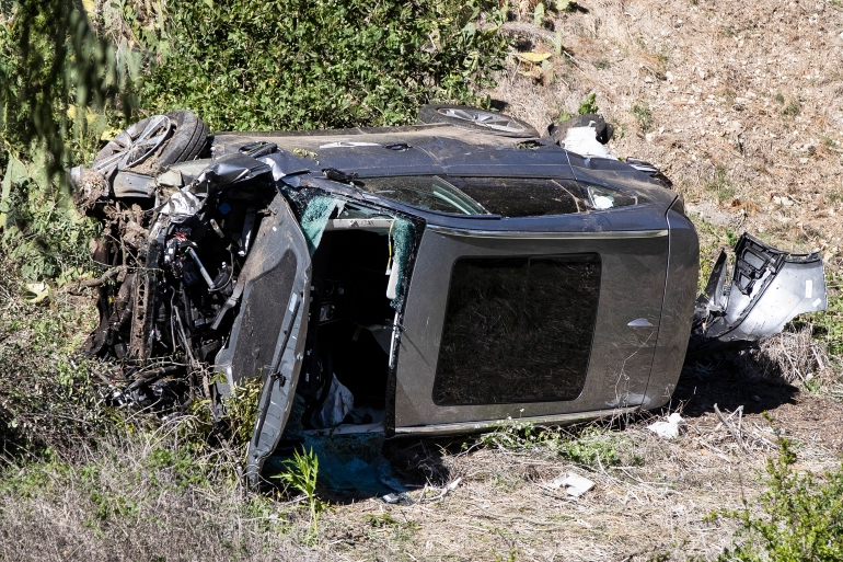 Golfer Tiger Woods is in a serious condition in hospital after a car crash in California. Woods had to be cut from the vehicles [Etienne Laurent/EPA]
