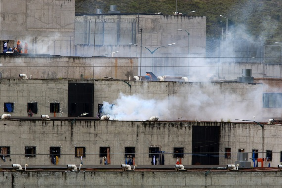 View of the El Turi jail, in the city of Cuenca. More than 79 inmates died in a series of riots that occurred in three prisons in various cities in Ecuador, the national police confirmed. [Robert Puglla/EPA]
