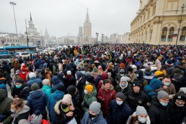 Protesters rally in support of jailed Russian opposition leader Alexey Navalny in Moscow, Russia, where the economy in 2020 is estimated to have suffered its sharpest contraction in 11 years [File: Maxim Shemetov/Reuters]