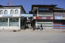 Shops are shut in Srinagar on the day of the foreign envoys' visit to the disputed Himalayan region [Shuaib Bashir/Al Jazeera]