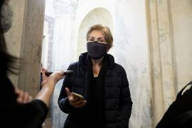 Democratic lawmakers in the United States such as Senator Elizabeth Warren have long sought to toughen insider-trading laws, which are enforced under general rules against market manipulation [File: Michael Reynolds/EPA/Bloomberg]