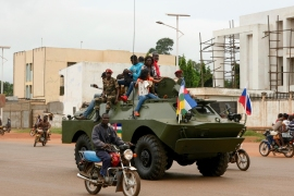 A Russian armoured personnel carrier is seen moving in the street during the delivery of armoured vehicles to the Central African Republic army in Bangui, CAR, on October 15, 2020 [File: Camille Laffont/AFP]