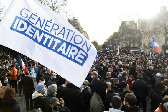 Generation Identity supporters protest against the planned closure of the organisation on February 20 [File: AFP]