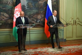 Russian Foreign Minister Sergei Lavrov and his Afghan counterpart Mohammad Hanif Atmar at a joint news conference following their talks in Moscow on February 26, 2021 [Russian foreign ministry handout/AFP]