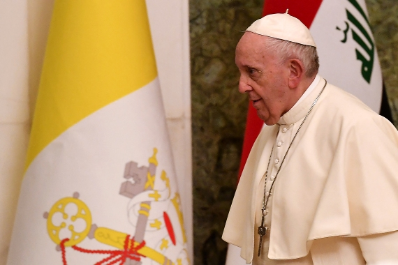 Pope Francis at the presidential palace in Baghdad on the first papal visit to Iraq [Vincenzo Pinto/AFP]