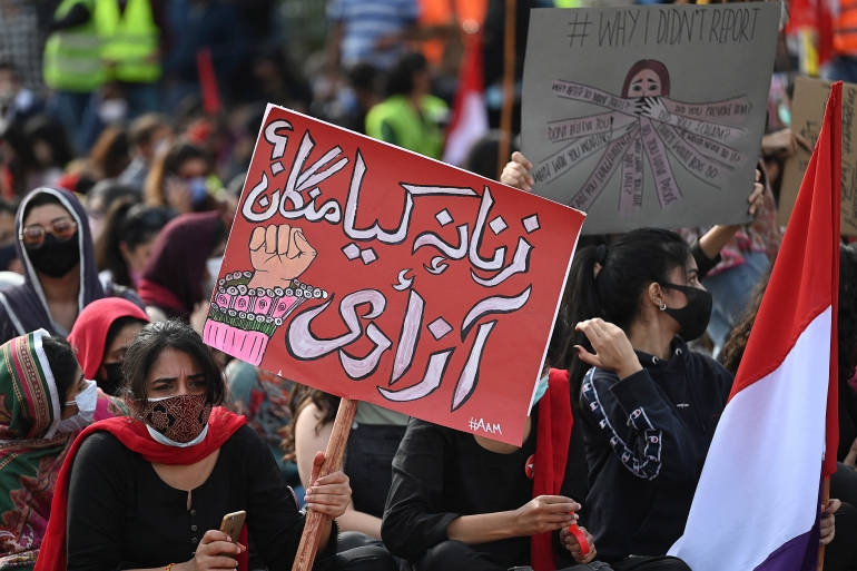 Aurat March held to mark the International Women's Day in Islamabad [File: Aamir Qureshi/AFP]