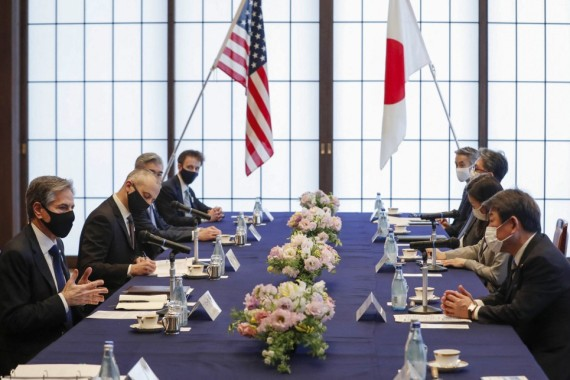 US Secretary of State Antony Blinken (L) attends a meeting with Japan's Foreign Minister Toshimitsu Motegi (R) at Iikura House in Tokyo on Tuesday [Kim Kyung-hoon/AFP]