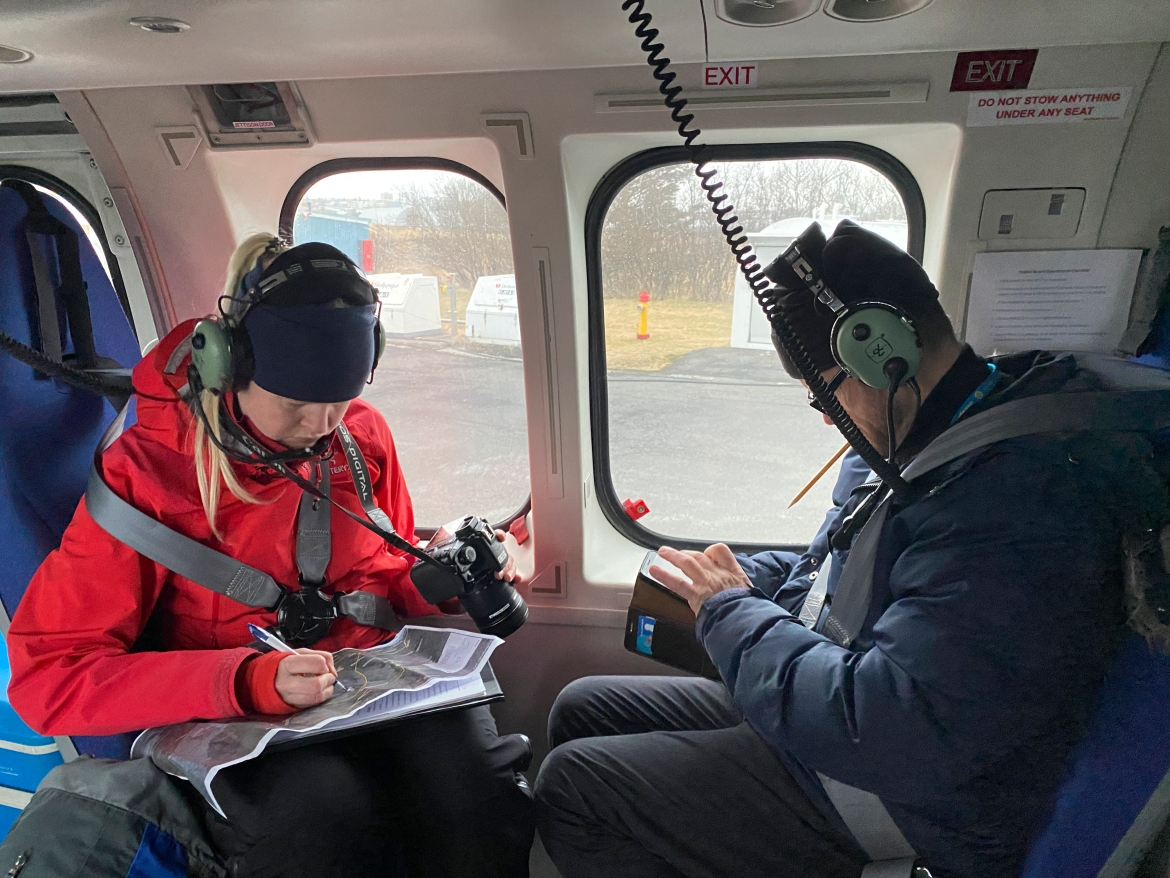 Scientists getting ready for a helicopter flight to the erupting Fagradalsfjall volcano. The Fagradals Mountain volcano had been dormant for 6,000 years, and the Reykjanes Peninsula had not seen an eruption of any volcano in 781 years. [Handout/ Icelandic Coast Guard via AFP]