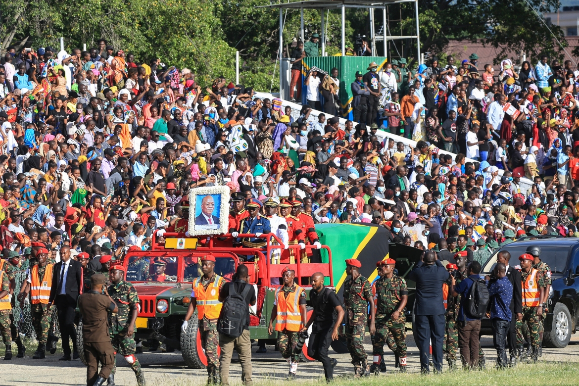 Thousands attended the service at the Jamhuri Stadium in Dodoma, Tanzania's administrative capital. [AFP]