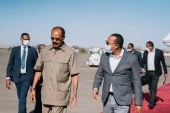 Ethiopia's Prime Minister Abiy Ahmed travelled to Asmara to meet Eritrea's President Isaias Afwerki on March 25, 2021 [Aron Simeneh/Office of the Prime Minister of Ethiopia via AFP]