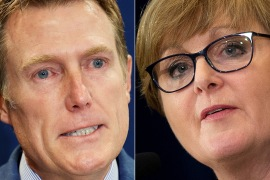 Christian Porter (left) was sacked as attorney general while Linda Reynolds (right) lost her job as defence minister [File: Stefan Gosatti and Brendan Smialowski/ AFP]