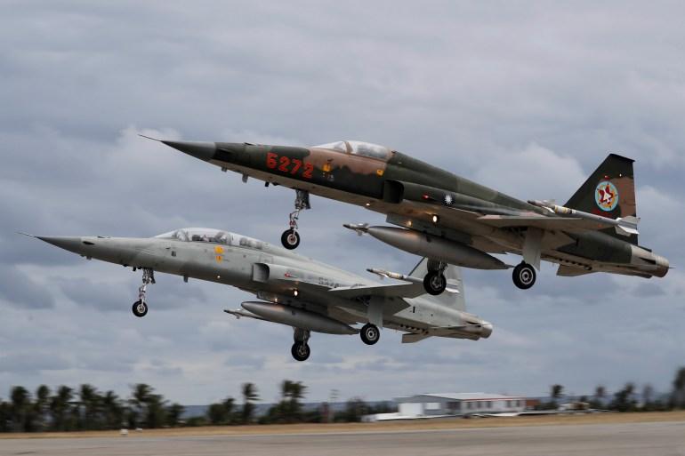 Authorities say the F-5E jets crashed into the sea off the island's southeastern coast [File: Tyrone Siu/Reuters]