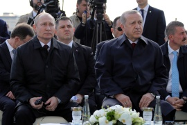 Russian President Vladimir Putin and his Turkish counterpart Recep Tayyip Erdogan attend a groundbreaking ceremony of the Akkuyu nuclear power plant in 2018 [Mikhail Klimentyev/Kremlin via Reuters]
