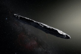 Artist's impression of the first-known interstellar object to visit the solar system, 'Oumuamua, which was discovered on October 19, 2017 by the Pan-STARRS 1 telescope in Hawaii. [EUROPEAN SOUTHERN OBSERVATORY/M. KORNMESSER/HANDOUT VIA REUTERS] (Reuters)