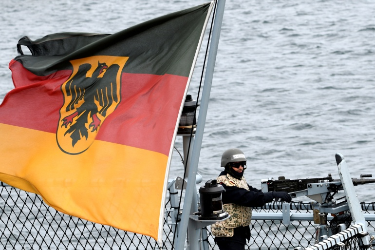 The German ship will not pass within what officials called the '12-nautical-mile' in a reference to contested areas in the crowded sea [File: Fabian Bimmer/Reuters]