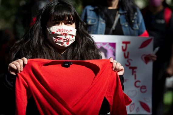 A woman attends a rally demanding justice for Joyce Echaquan in Montreal, Quebec, Canada on October 3, 2020 [File: Christinne Muschi/Reuters]