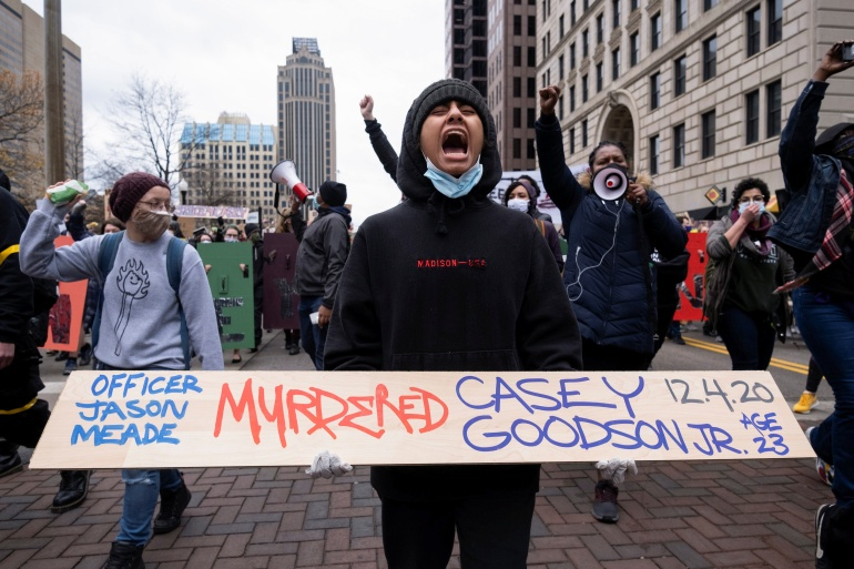 People protest against the death of Casey Goodson Jr, a 23-year-old Black man who was killed by police as he entered his home, in Columbus, Ohio, on December 12, 2020 [File: Seth Herald/Reuters]