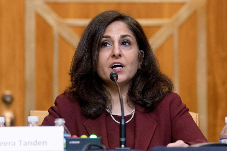 Neera Tanden testifies during a Senate committee hearing on February 10 [File: Andrew Harnik/Pool via Reuters]