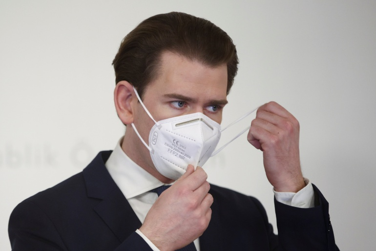 Austrian Chancellor Sebastian Kurz is due to travel to Israel this week with Danish Prime Minister Mette Frederiksen to see Israel's rapid vaccine rollout up close [File: Lisi Niesner/Reuters]