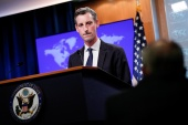 State Department Spokesman Ned Price faced questioning from reporters during a news briefing about the Biden administration's decision not to sanction Mohammed bin Salman [Tom Brenner/Reuters]