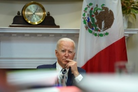 US President Joe Biden has said he wants to forge a broader, more cooperative relationship with its southern neighbour, Mexico [Kevin Lamarque/Reuters]